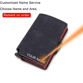 DIENQI Customize Credit Card Holder Metal Minimalist Wallet Men RFID Smart Purse Creditcard Cardholder Case nederlands with name - discount item  58% OFF Wallets & Holders
