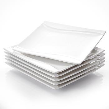 MALACASA seria Carina 6-sztuka 10 #8222 kości słoniowej biały porcelany chiny ceramiczne krem biały talerze obiadowe tanie i dobre opinie CN (pochodzenie) Rectangle Stałe