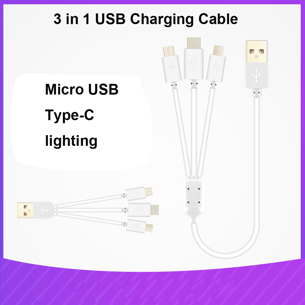 VIPATEY 3 in 1 Charging Cable For iPhone 11 XR Type C Micro Mobile Phone Cable for Samsung Xiaomi Multiple USB Charging Cord