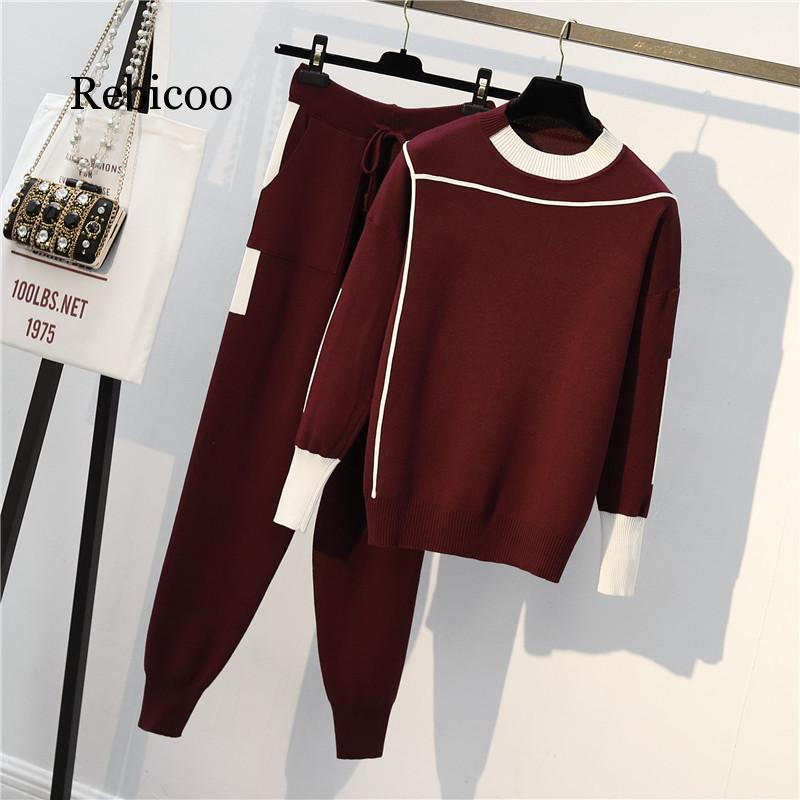 Autumn 2 Pieces Set Knitted Pullovers Sweater Casual Stripe Knit Jumper Tops And Pants Suits Fashionable Long Sleeve Tracksuits