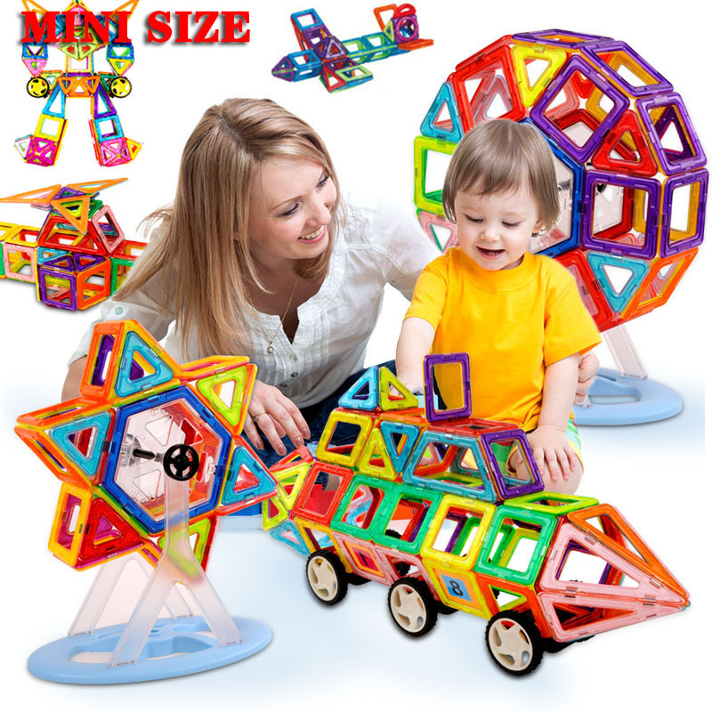 41pcs-253pcs Mini Magnetic Designer Construction Magnet Block Set Model Building Toy Plastic Educational Toys For Children Xmas