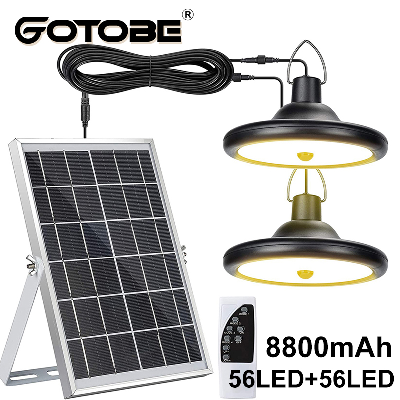Модернизированный 8800 мАч Солнечный уличный светильник с двумя головками 112 светодиодный движения Сенсор Водонепроницаемый Солнечный прол...