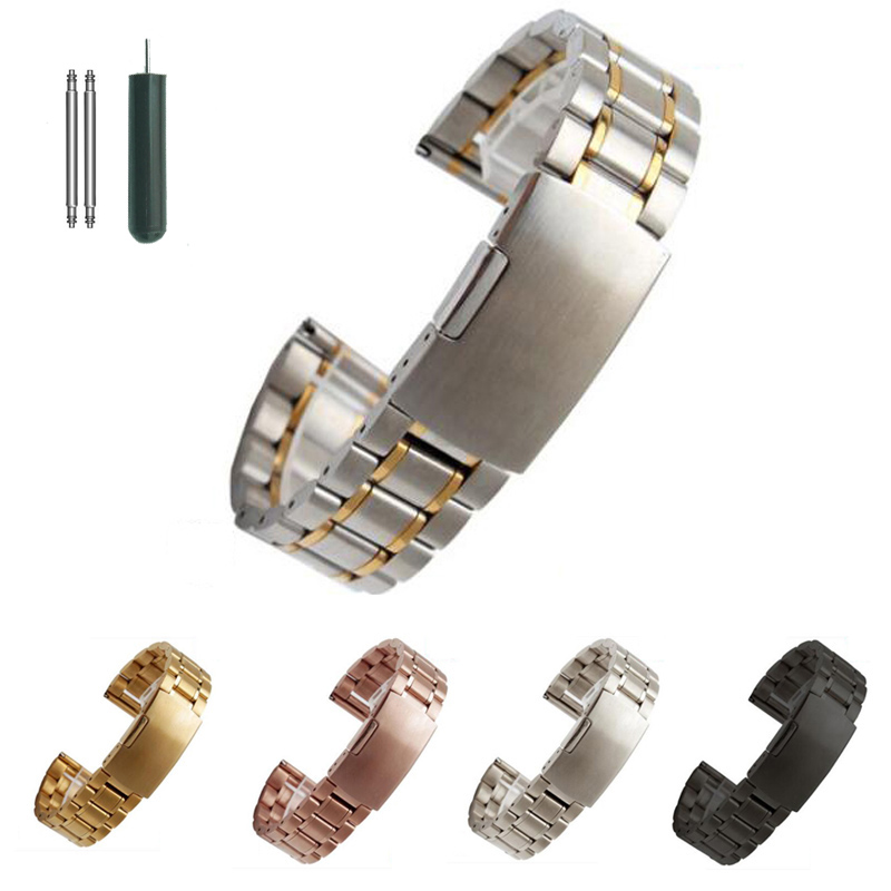 Stainless Steel Watch band Solid Metal Watch Bracelet Strap Men Women Watchband 14mm 16mm 18mm 20mm 22mm 24mm Butterfly Clasp