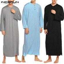 INCERUN мужские халаты с длинным рукавом пижамы удобные одноцветные пуговицы Домашняя одежда круглый вырез пуговицы халаты мужские s кафтан, ночное белье