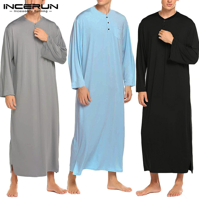 INCERUN Men Robes Long Sleeve Pajamas Comfortable Solid Color Button Homewear Round Neck Button Bathrobes Mens Kaftan Sleepwear