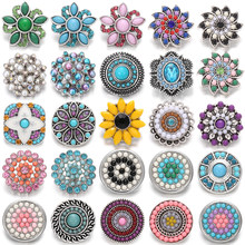 6 pièces/lot nouveaux bijoux pression pierre naturelle Mini perles Vintage rond fleur boutons pression ajustement 20mm 18mm Bracelet pression Bracelet collier