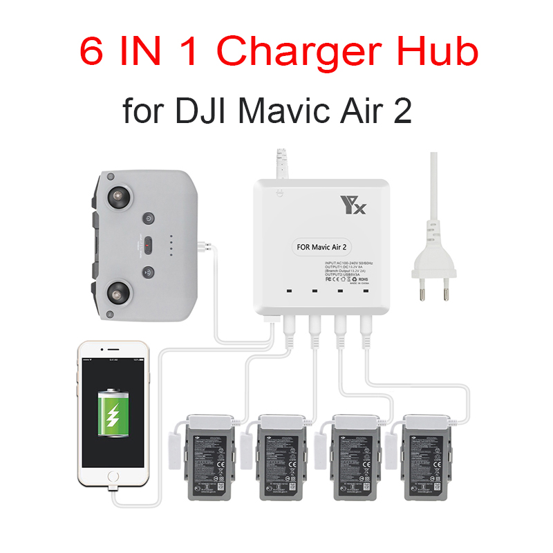 For Mavic Air 2 Drone 6 in 1 Battery Charger with USB Port Remote Control Charging Hub Intelligent Multi Charger Accessory