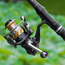 All Metal Fishing Reel AM1000-7000 Black Golden Spinning Fishing Wheel 5.5:1 Gear Ratio Super Smooth Wire Cup Spinning Reel k8356 fishing spinning reel 5 5 1 gear ratio wheel all metal wire cup fishing equipment spool capacity 1000 7000 plastic seat