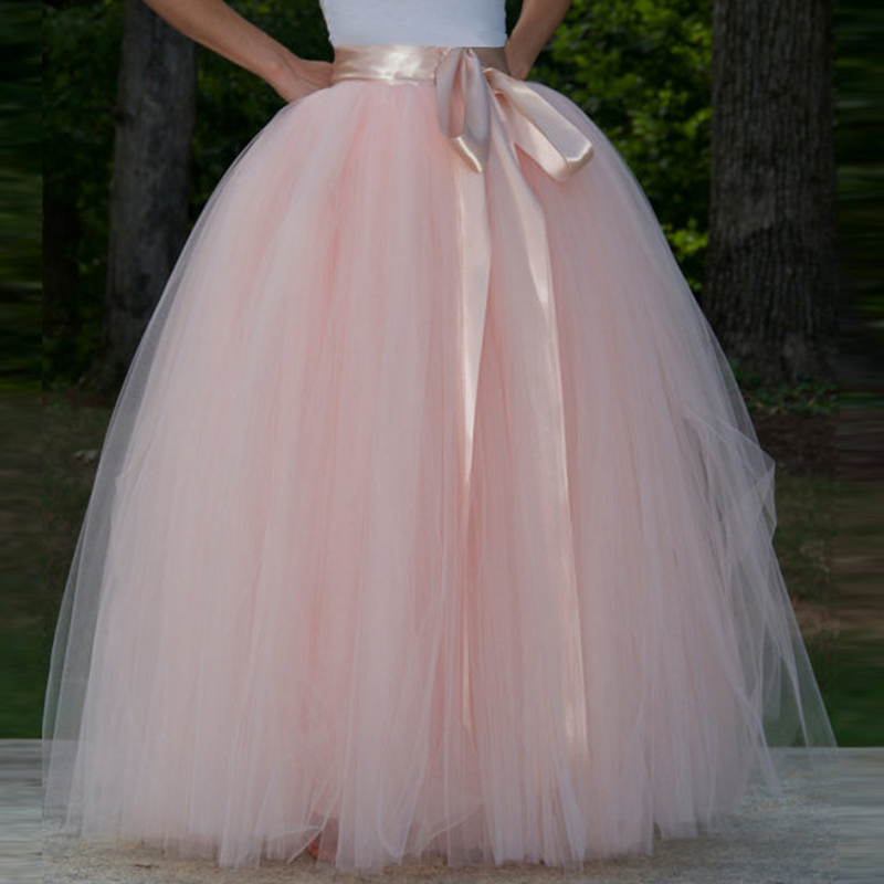 Women's 7 Layers 100CM Long Tutu Tulle Skirt A Line Floor Length Tulle Party Evening Skirt Wedding Ball Gown Skirt