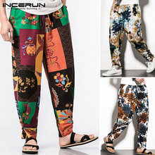 Vintage Printed Men Harem Pants Elastic Waist Baggy Joggers Ethnic Trousers Casual Cotton Streetwear Men Long Pants 5XL INCERUN