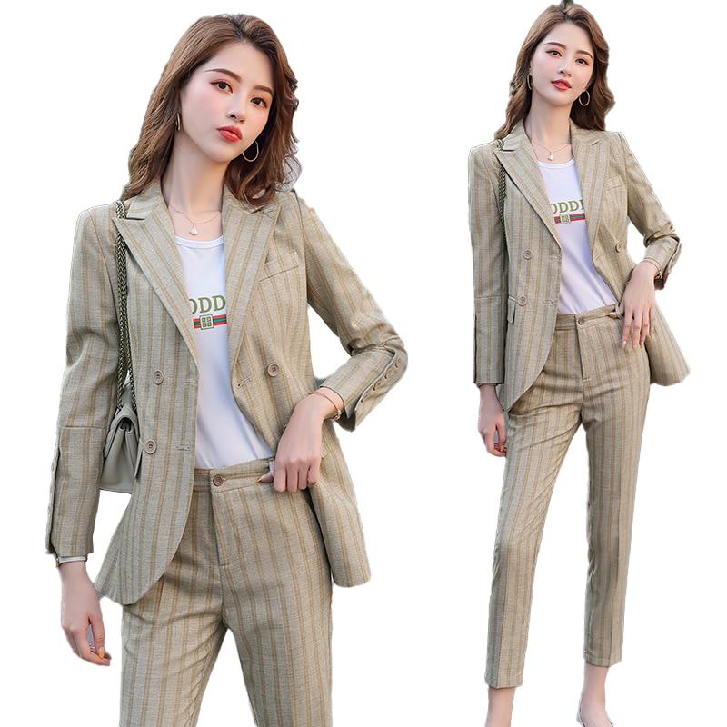 2020 Fashion Female Elegant Business Pant Suits Office Uniform Formal OL Long Pant Blazer And Pants  2 Piece Set Jacket Trousers