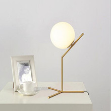 Modern Style Gold Metal Table Lamp Milky Glass Ball Cafe Decoration Light Studio Light Bedroom Lamp Free Shipping loft style clear glass wall lamp black metal glass ball wall light bedroom light dining room light free shipping