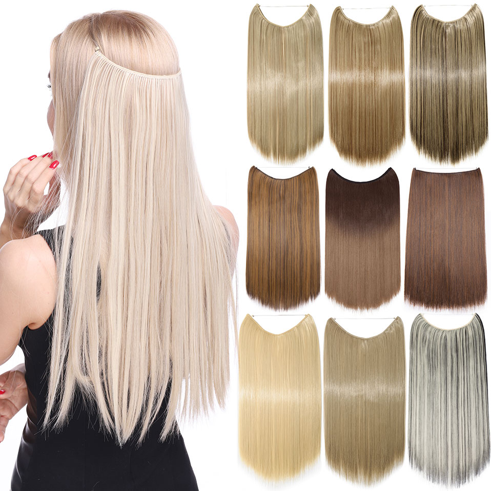 He117d971f9ff4931842393af4271b625c - S-noilite 20 inches Natural hair Invisible Wire in Synthetic Hair Extensions No Clip with Secrect Line Easy Attach halo hair