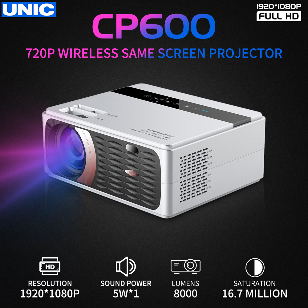 Projecteur UNIC CP600 55W Full HD 1080P 8000 Lumens pour projecteur de cinéma avec port USB Android WiFi hdmi VGA AV