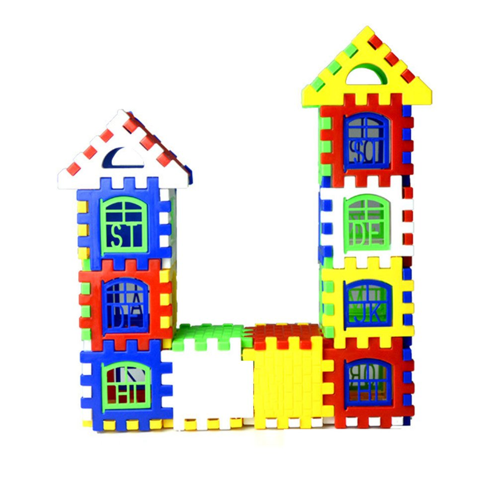 24pcs/lot DIY Plastic Interlocking Building Blocks Construction House Playset Early Educational Enlightenment Toy For Children