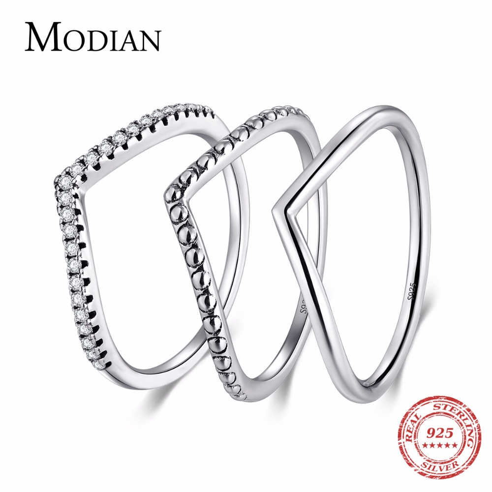 Modian 3 Style Real 925 Sterling Silver Stackable Simple Ring Clear CZ Fashion Instagram Jewelry For Women Couple Gift Rings