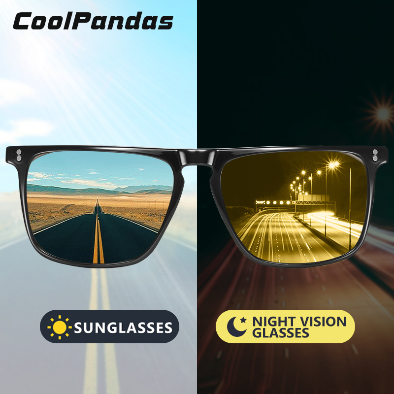 Square Retro Rivet Photochromic Sunglasses Men Polarized Women Sports Sun Glasses Day Night Vision Driving Gafas De Sol Hombre