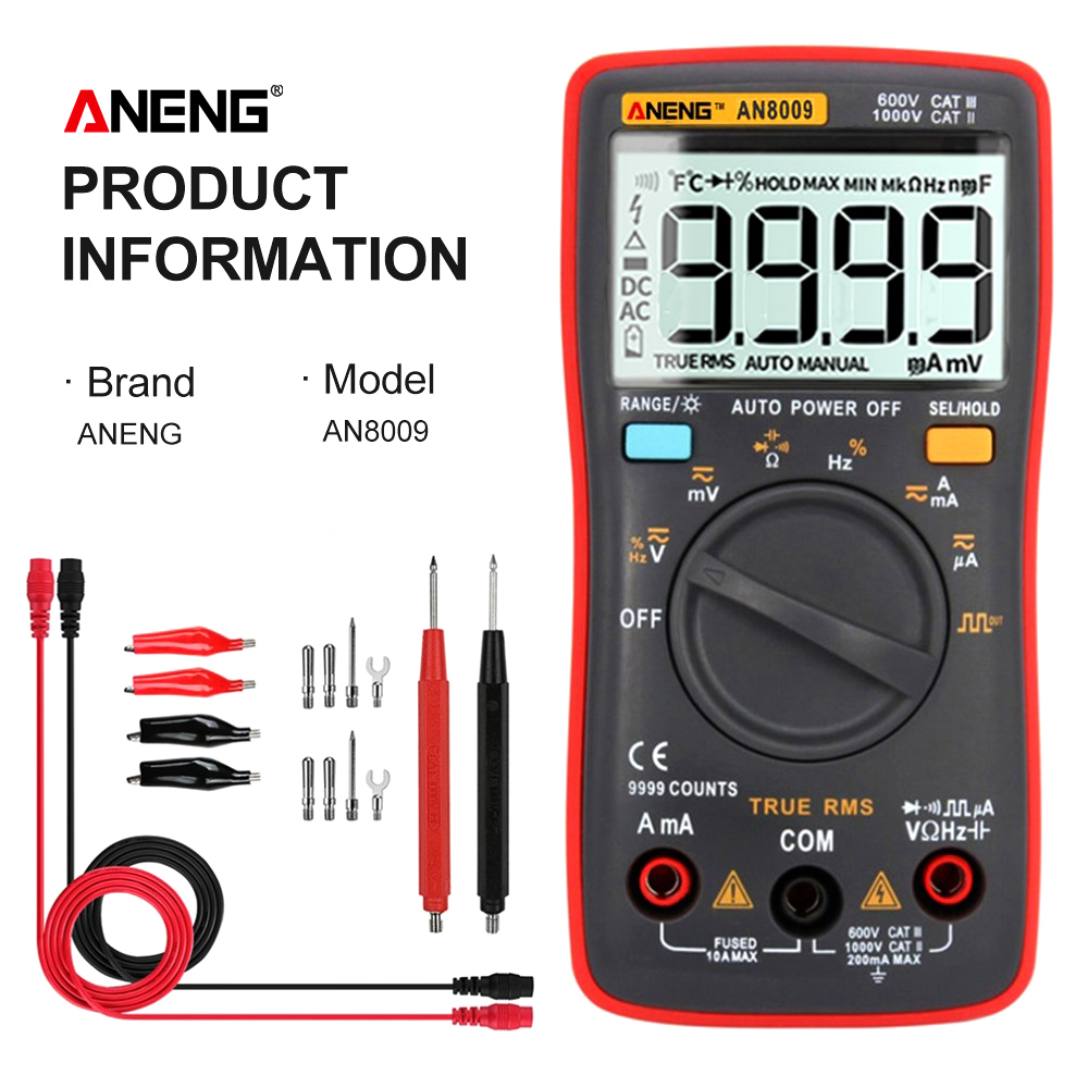 ANENG AN8009 True RMS Digital Multimeter transistor tester capacitor tester automotive electrical capacitance meter temp diode Innrech Market.com