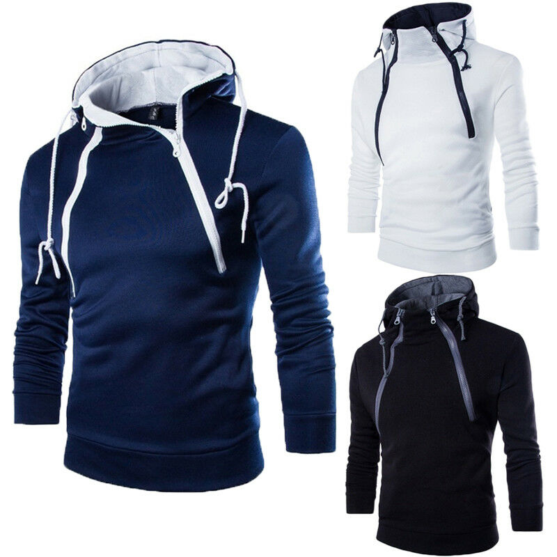 3 Colors Men Spring Autumn Casual Clothes Solid Hoodie Male Zipper Slim Hooded Sweatshirts Pullover Outwear Plus Size M-3XL