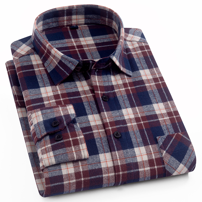 100% Cotton Flannel Men's Plaid Shirt Slim Fit Male Casual Long Sleeved Shirts Soft Comfortable Breathable High Quality 4XL