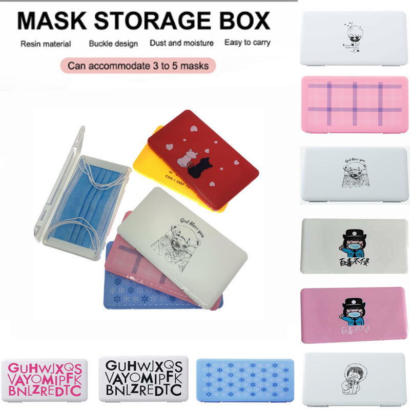 2020 Plastic Rusable Kids Mask Storage Box Portable Dustproof Moisture-proof Mouth Face Cover Container Case Storage Organizer