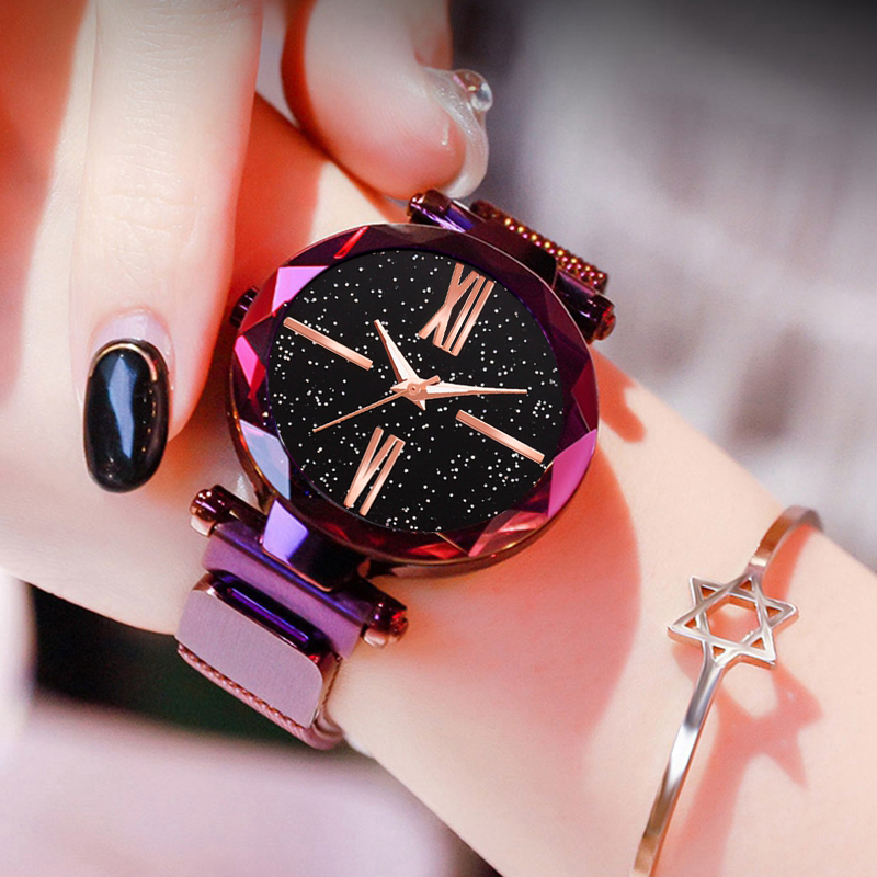 Popular Women Watches Fashion Elegant Magnet Buckle Mysterious Purple Lady Wristwatch 2018 Starry Sky Roman Numeral Clock