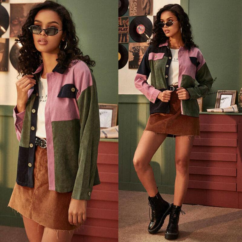 Fashion Buttons Pockets Corduroy Shirt Coat Women Popular Puff Long Sleeve Turn Down Collar Short Jacket Top Outwear Tops