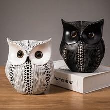 Cute owl resin statue Nordic minimalist animal miniature desktop wood crafts decoration accessories ornaments kawaii accessories