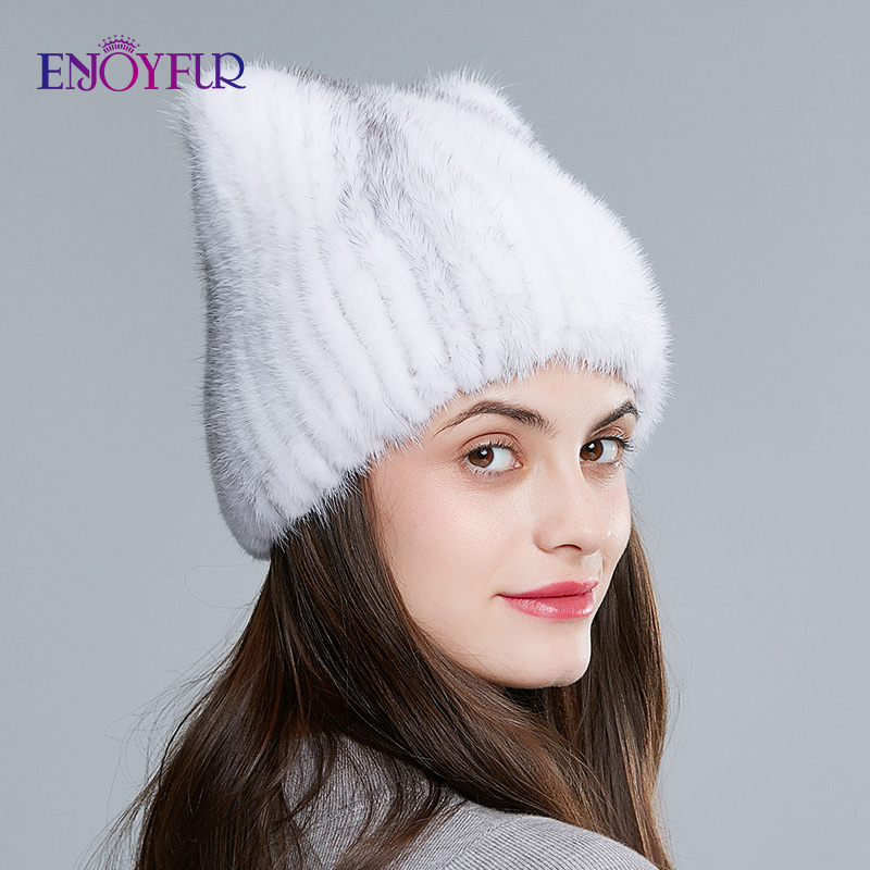ENJOYFUR Natural Mink Fur Hats For Women Winter Female Knitted Mink Fur Caps Cute Ear Headwear Beanies