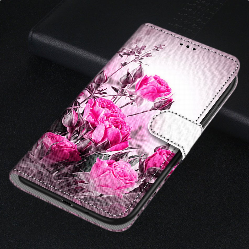 Floral <font><b>Case</b></font> Painted Leather Cover For <font><b>Samsung</b></font> <font><b>Galaxy</b></font> A10 A10S A20S A20E A20 A2 Core A30 A40 A50 A60 <font><b>A70</b></font> A80 A90 Girl <font><b>Flower</b></font> E08F image