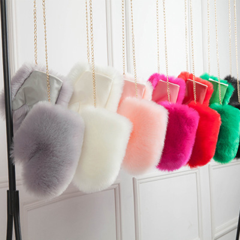 Winter Warm Mittens Fashion Women Imitation Fox  Fur Fake Fur Gloves Female Hanging Neck Plus Velvet Thick Fur Mittens 6 Colors