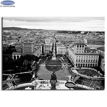 Full Square Diy Diamond Painting Overlooking the Rome City landscape Mosaic Diamond Embroidery Rhinestones Pictures black white(China)
