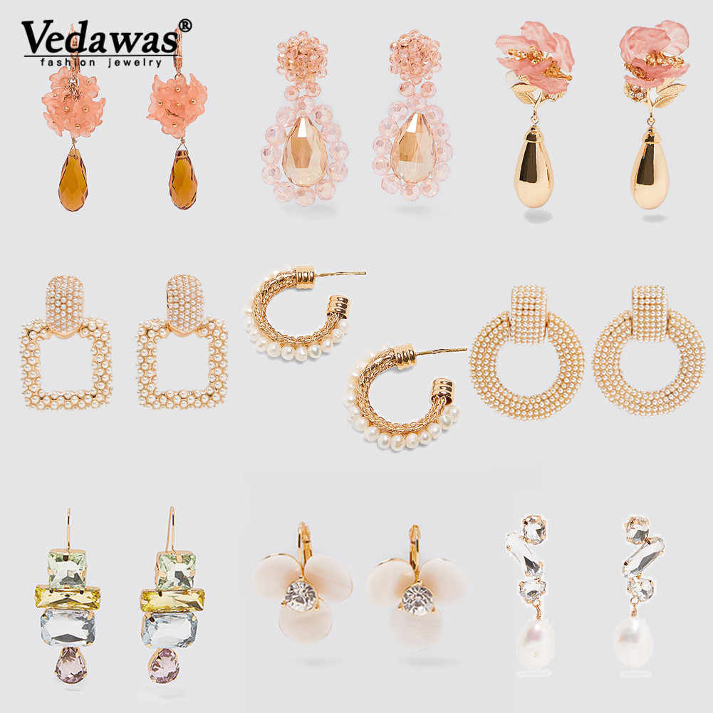 Vedawa ZA Pink Flower Drop Earrings for Women Girls Jewelry Colorful Glass Floral Teardrop Earrings Party Gifts Oorbellen xg3381
