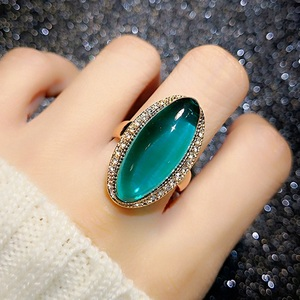 Big Oval Green Stone Rings For Women Luxury Gold Color Filled Shining Zircon Ring Bling Engagement Wedding Band Rings