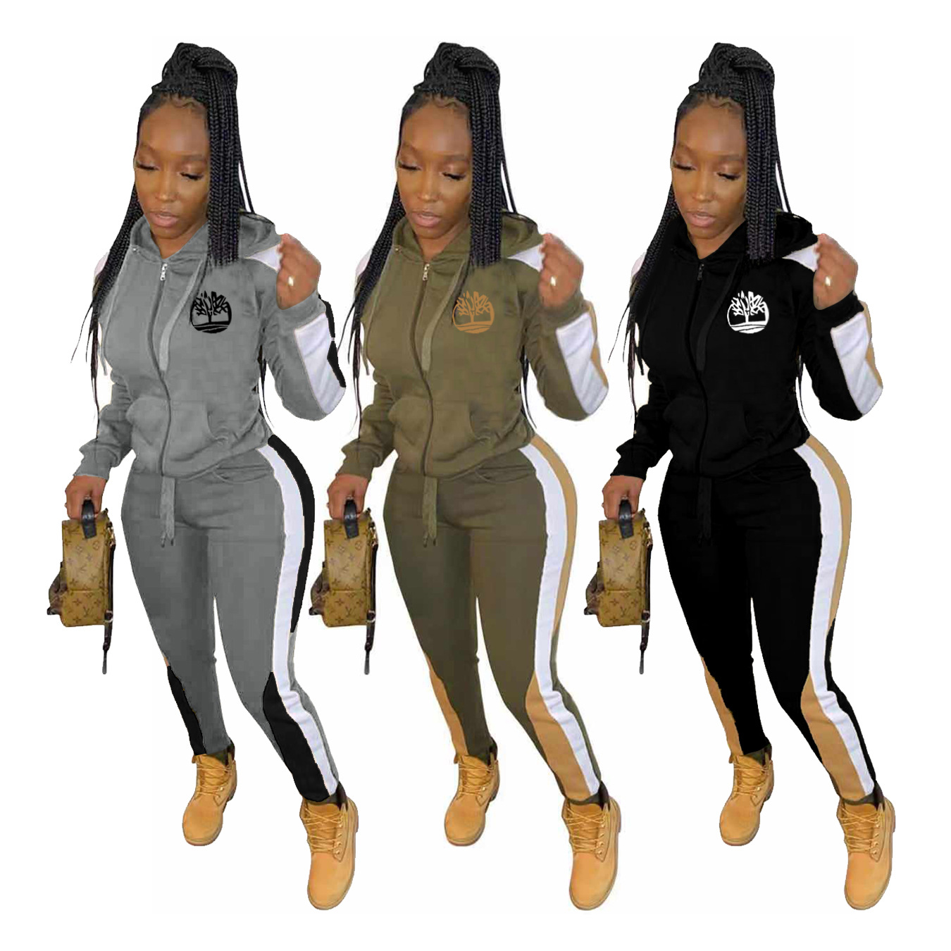 Winter Women's Set Tracksuit Full Sleeve Hoodied Sweatshirt Pockets Casual Pants Suit Two Piece Set Outfits Leopard Sweat
