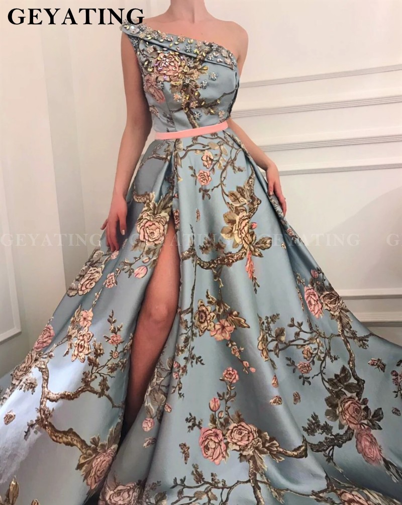 Sexy One Shoulder Side Split Prom Dresses 2020 Floral Print Crystal Beaded Party Gowns With Sash Long Women Formal Evening Dress
