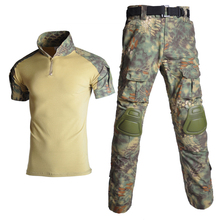 Camouflage Tactical T Shirt + Pants Men Short Sleeve Solider Army Uniform Airsoft Paintball Combat Hunting Clothing emersongear tactical short sleeve t shirt lightweight soft airsoft military army training shirt outdoor hunting camping clothing