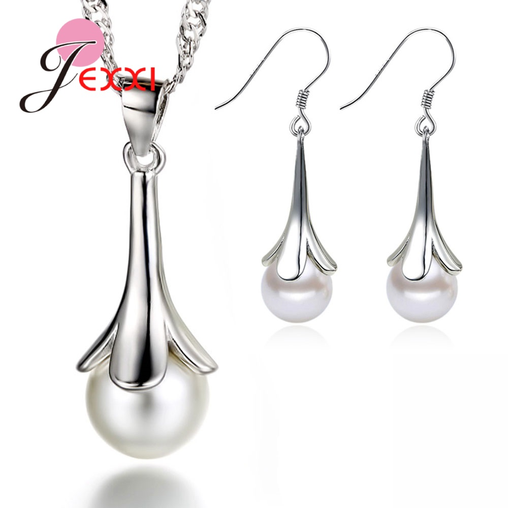 High Reputation Brand New Pearl Jewelry Sets 925 Sterling Silver Dangle Earrings Natural Pearl Flower Necklace for Women/Girls