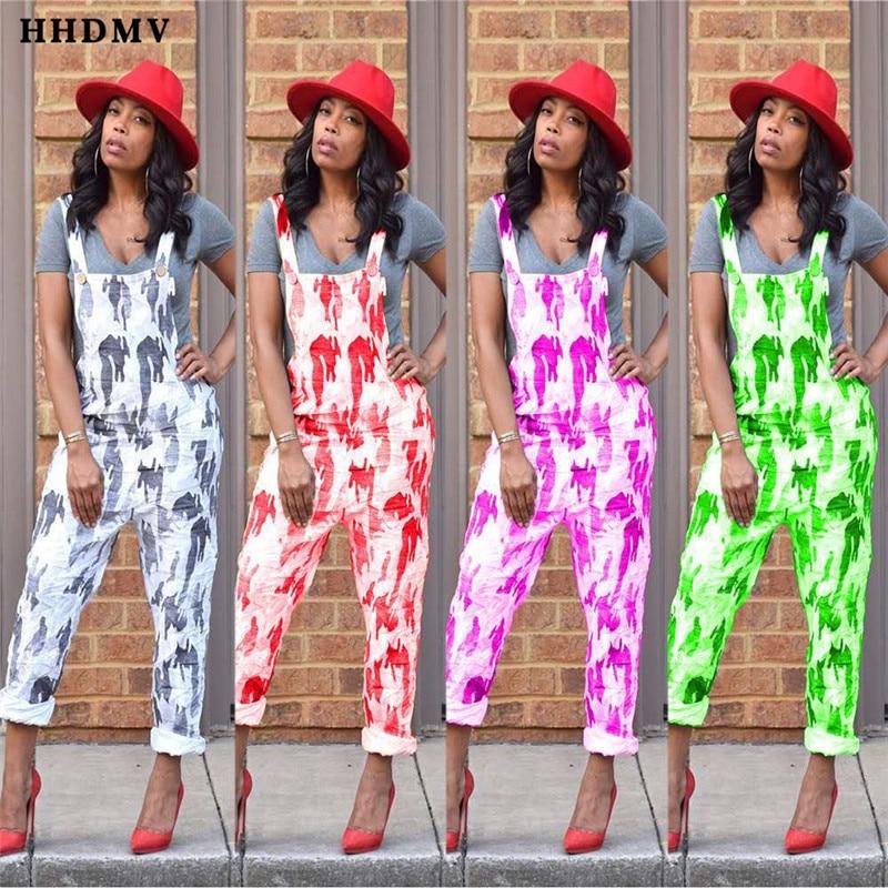 HHDMV HM6142 hot sale fashion street hip hop style jumpsuits sleeveless condole belt loose printed jumpsuits seven points pants