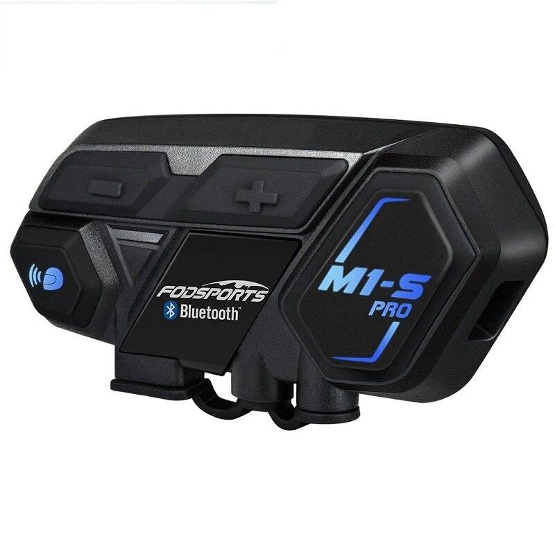 Fodsports M1-S pro capacete interfone fone de ouvido da motocicleta interfone à prova dwaterproof água bluetooth 8 rider 1200 m intercomunicador