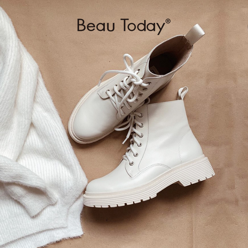 BeauToday Ankle Boots Women Genuine Cow Leather Lace Up Round Toe Lady Booties Autumn Winter Platform Sole Shoes Handmade 03429