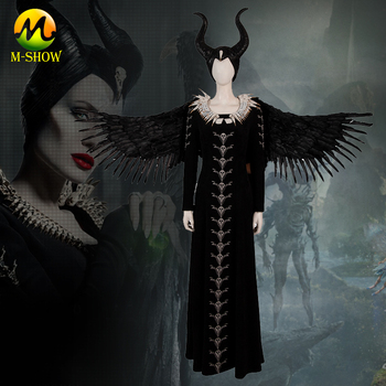 Maleficent Mistress of Evil 2 Cosplay Costume Maleficent Cosplay Dress Halloween Cosplay Witch Black Long Dress Custom Made the touhou project yukari yakumo cosplay costume halloween luxury party dress custom made