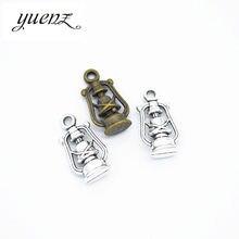 Yuenz 10 pçs antigo prata cor querosene lâmpada encantos pingentes para colar pulseira jóias fazendo diy artesanal 20*10mm j409