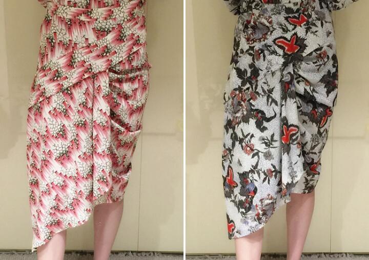 Multicolor drukuj ROLY asymetryczna spódnica jedwabna fałdy szczegóły moda nieregularne spódnice Midi 2019 kobieta gorąca sprzedaż w Spódnice od Odzież damska na  Grupa 1