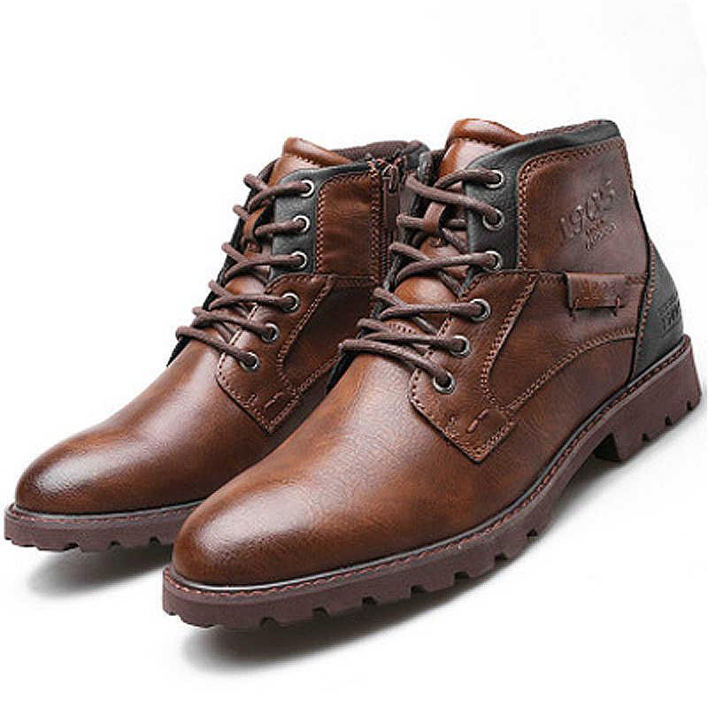 Klasik Marka erkek Çizmeler İtalya El Yapımı Erkek yarım çizmeler Açık Su Geçirmez Erkek Temel iş ayakkabısı Sonbahar Dantel-up Adam Moccasins