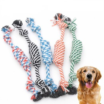 Dogs Toy Puppy Pet Dog Toys Cotton Braid Geometry Shape Rope Che/w Outdoor Training Fun Playing Cat Zabawki Dla Psa 2021 image