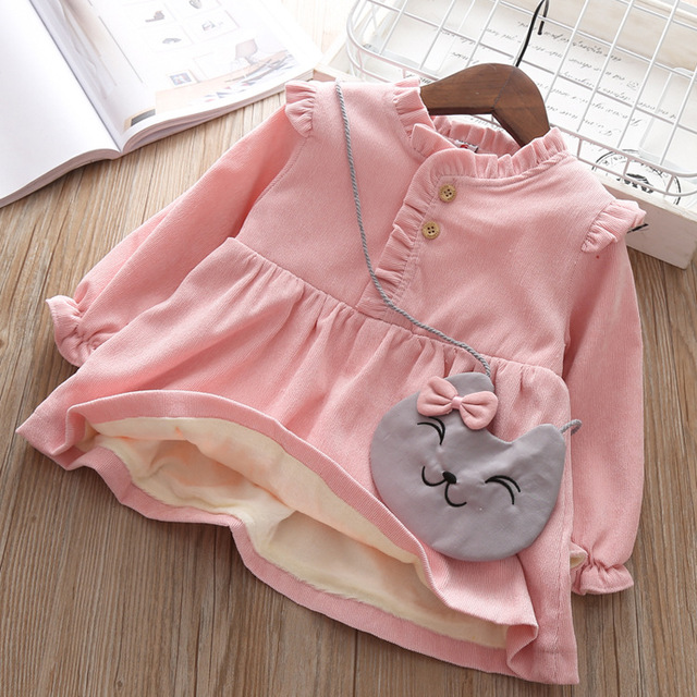 Baby Clothing 2019 Fall Winter Wear Thick warm Baby Girls Princess Dress Velvet long-sleeve dress Party Dresses Baby Clothes 1