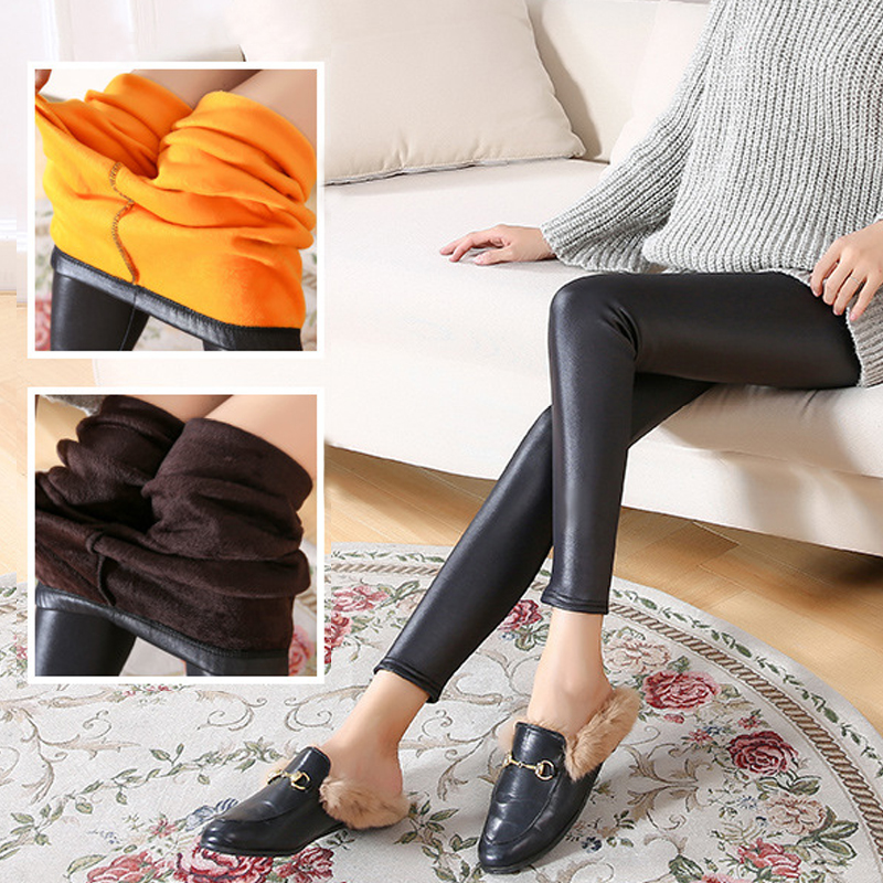 Autumn And Winter Models Of Leather Pants  Velvet Thickening Leggings Fashion Ladies Warm