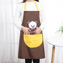 Tooling Waterproof Fabric Apron Simple Style Polyester Cartoon Bear Kitchen Cooking Sleeveless Gown Household Cleaning