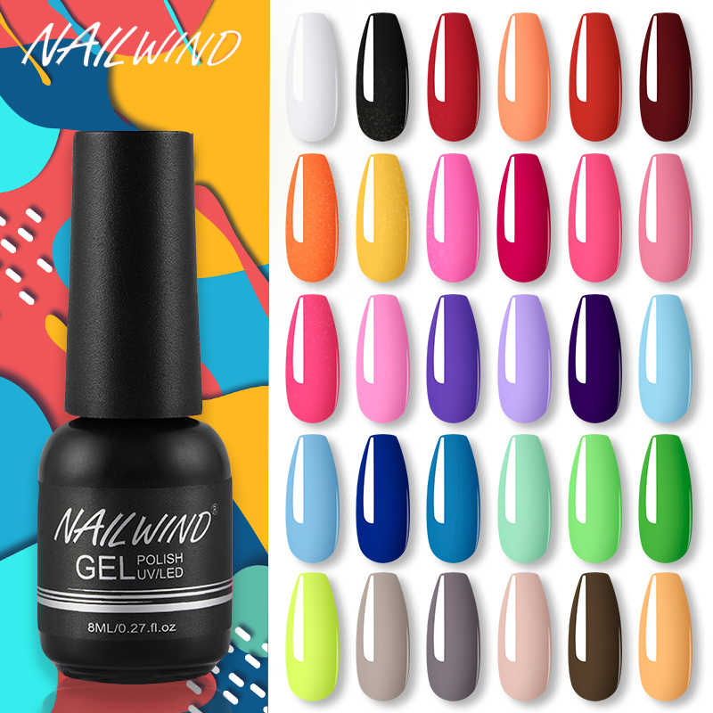 NAILWIND Gel Polish UV LED Lamp Gel Kuku Pernis Lukisan Hybrid Manicute Set untuk Kuku Seni Perlu Base Top Coat stiker Kuku